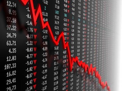Stock market data with downtrend vector