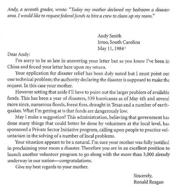 Ronald reagans letter to seventh grader the story of liberty im sorry to be so late in answering your letter but as you know ive been in china and found your letter here upon my return spiritdancerdesigns