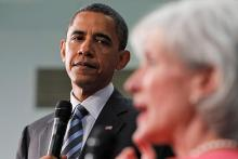 President Barack Obama and Health and Human Services Secretary Kathleen Sebelius (AP Photo/Alex Brandon)