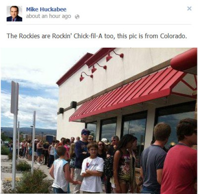 "Mike Huckabee: ""The Rockies are Rockin' Chick-fil-A too, this pic is from Colorado."""