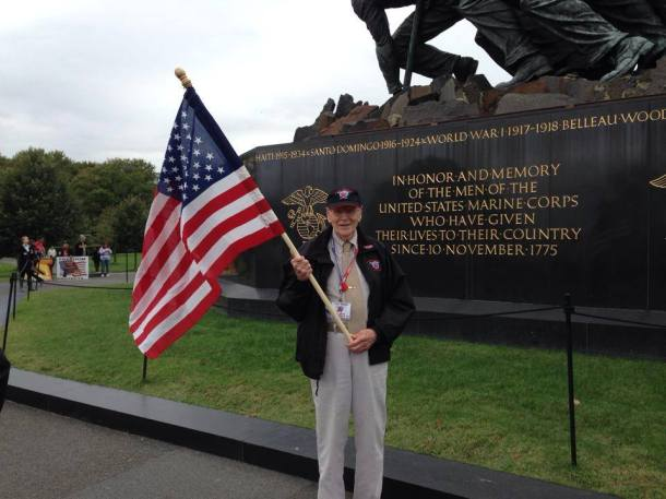 """Victory of the day! Two bus loads of Honor Flight veterans are finally granted access this afternoon to THEIR Iwo Jima Memorial."""